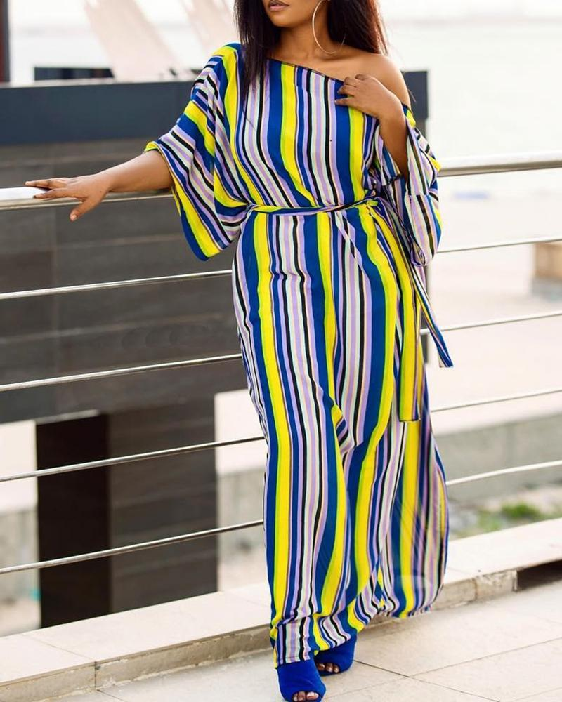 Off Shoulder Half Sleeve Striped Long Dress
