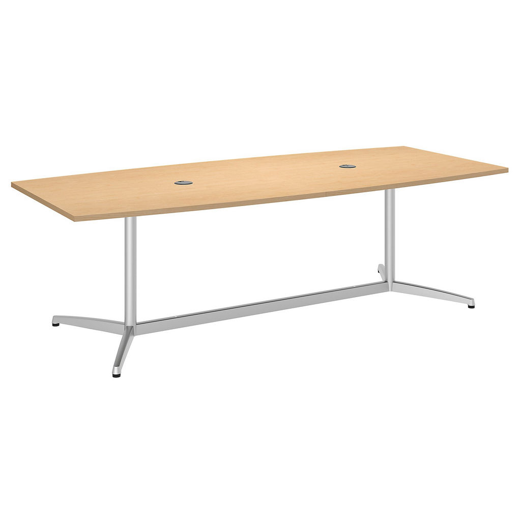 "Bush Business Furniture 99TBM96ACSVK - 96""L x 42""W Boat Top Conference Table - Metal Base in Natural Maple"
