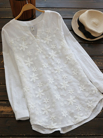 Embroidered V-Neck Long Sleeve Shirts