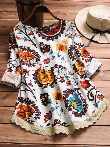Print Embroidery Patchwork Hollow T-shirts