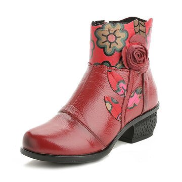 Genuine Leather Flowers Ankle Boots