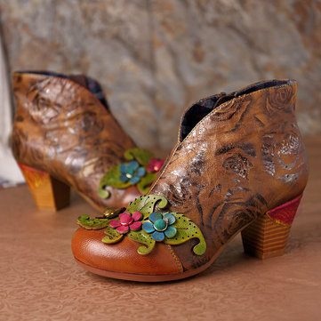 Retro Hand Painted Ankle Boots
