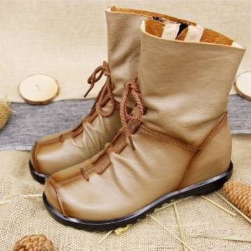 SOCOFY Ankle Leather Comfortable Zipper Boots