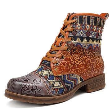 SOCOFY Cowgirl Genuine Leather Comfortable Boots
