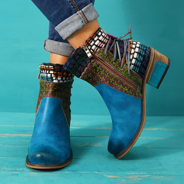 SOCOFY Cowgirl Retro Weave Pattern Genuine Leather Boots