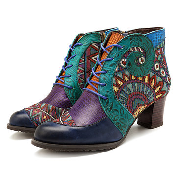 SOCOFY Cowgirl Zipper Genuine Leather Comfortable Boots