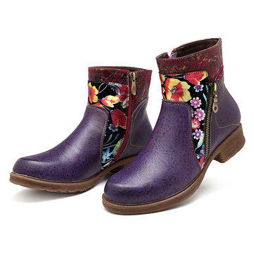 SOCOFY Cowgirl Zipper Genuine Leather Comfortable Flat Boots