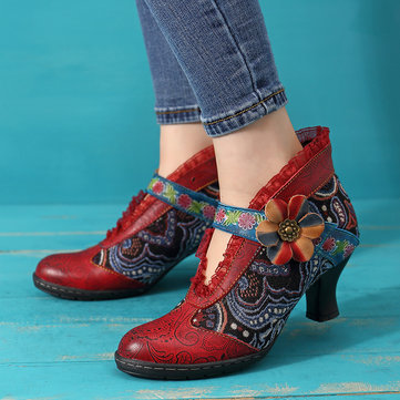 SOCOFY Floral Retro Heel Genuine Leather Comfortable Boots