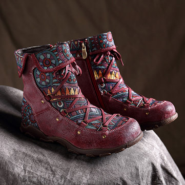SOCOFY Genuine Leather Zipper Boots