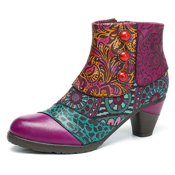 SOCOFY Retro Leather Boots