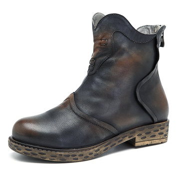 SOCOFY Sooo Comfy Retro Ankle Leather Boots