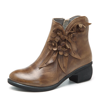 SOCOFY Vintage Ankle Leather Boots