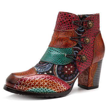 SOCOFY Vintage Buckle Leather Square Heel Boots