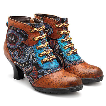 SOCOFY Vintage Genuine Leather Comfortable Boots