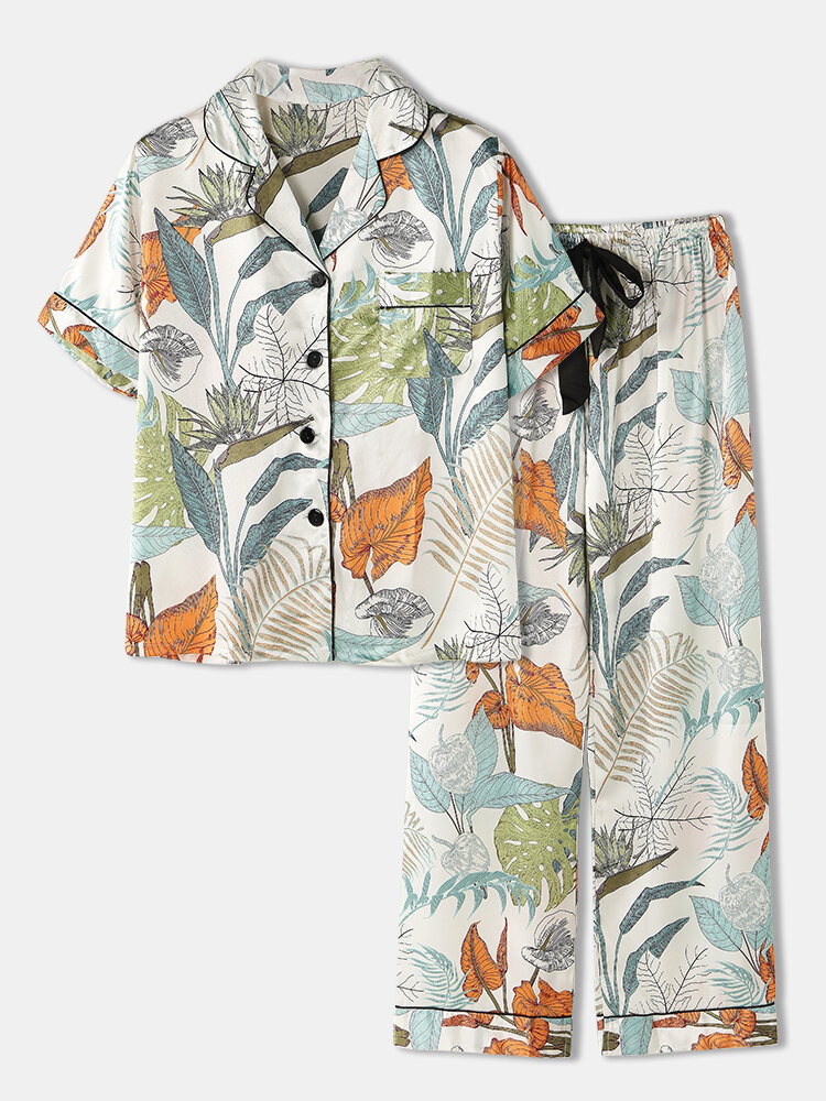 Women Allover Plant Leaf Print Faux Silk Short Sleeve Shirt Tie Long Panty Pajamas Sets With Contrast Binding