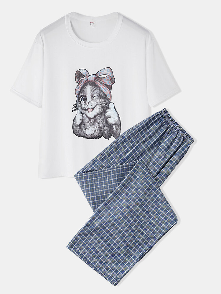Women Cute Cat Print Pajamas Set Two Pieces O-Neck Comfy Summer Sleepwear With Long Plaid Panty