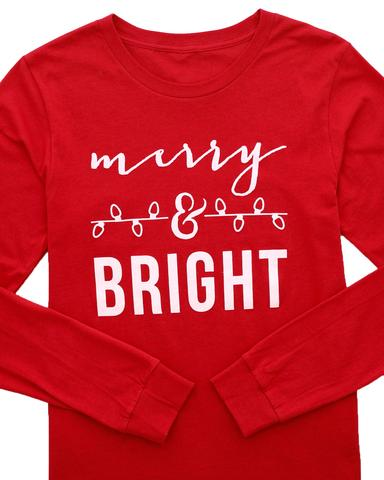 Merry and Bright Long Sleeve Graphic T-Shirt / XS-2XL